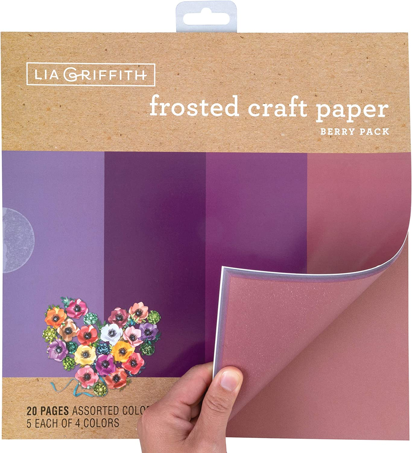 Lia Griffith Frosted Craft Paper 12 x 12 Berry Pack 20 Sheets