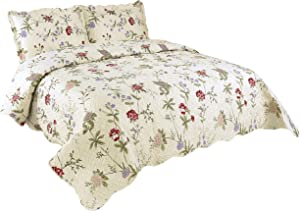 Marina Decoration Rich Printed Embossed Pinsonic Coverlet Bedspread Ultra Soft 3 Piece Summer Quilt Set with 2 Quilted Shams, Light Floral Pattern Pink Green Red Purple Cream Color Queen/Full Size