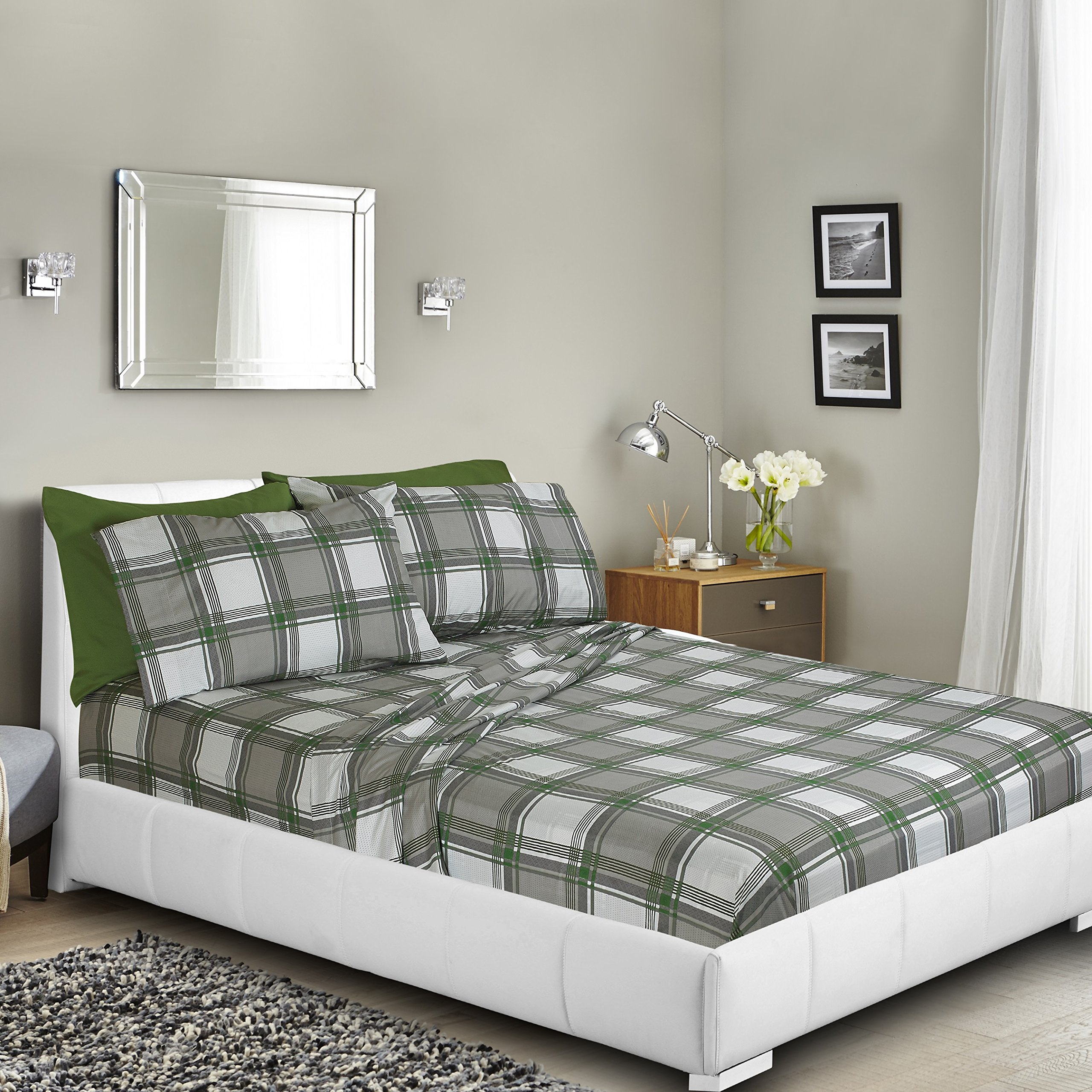 Clara Clark Premier 1800 Collection Deluxe Microfiber 3-Line Bed Sheet Set, Green/Grey Plaid, Full (Double) Size