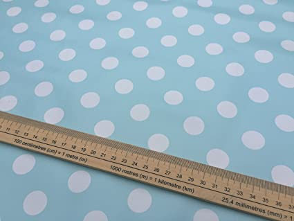 ★ 20m Roll ★ DUCK EGG Polka Dot Vinyl PVC Spotty Oilcloth plastic table  protector kitchen Fabric Tablecloth shop Wholesaler