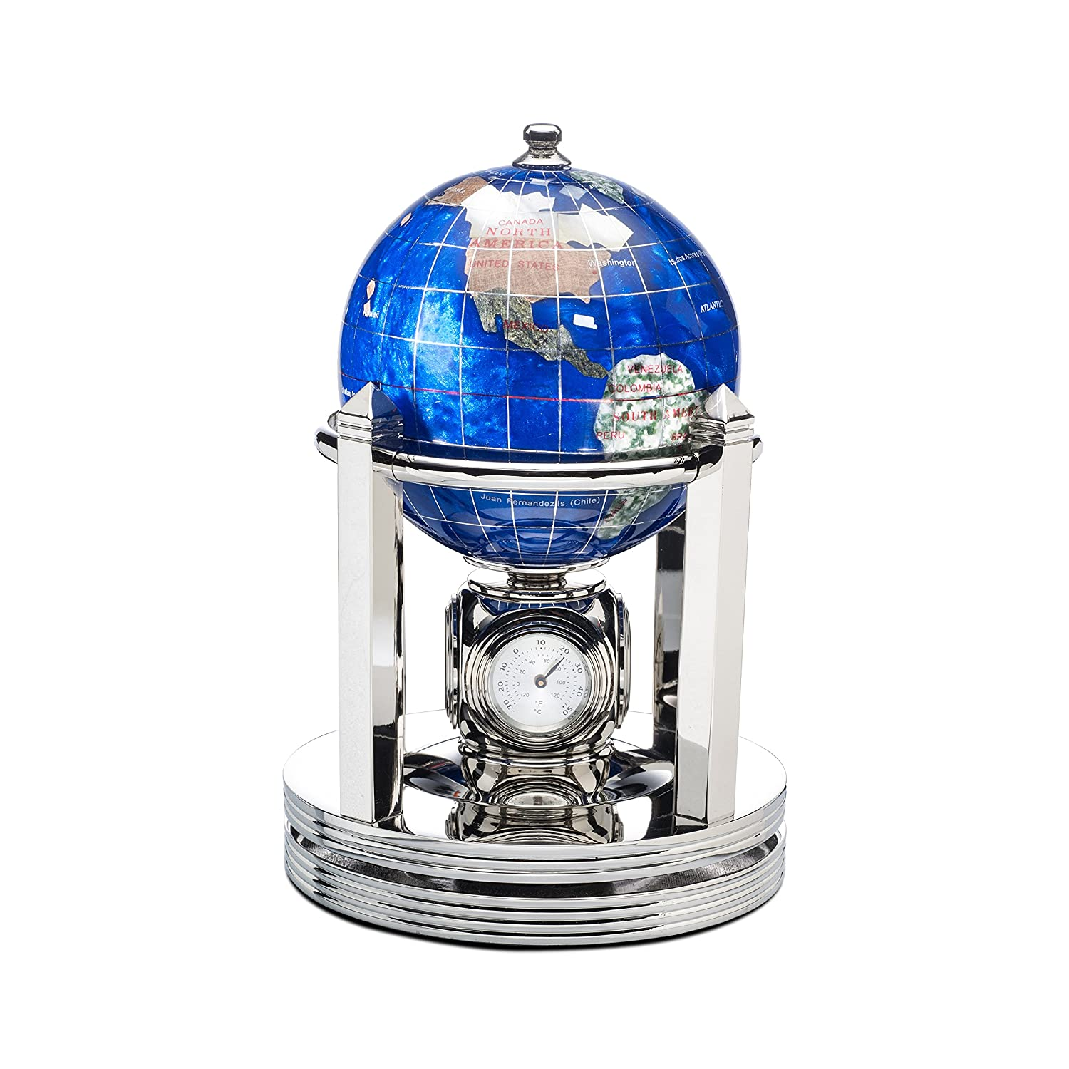 Kalifano Caribbean Blue 3-in. Gemstone Globe and Bright Silver Galleon Rotating Base - Clock, 2 thermometers, and a hygrometer