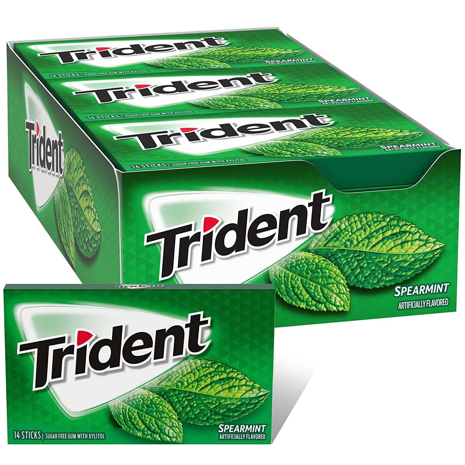 Trident Spearmint Sugar Free Gum, 12 Packs of 14 Pieces (168 Total Pieces) 91EMUccF7lL