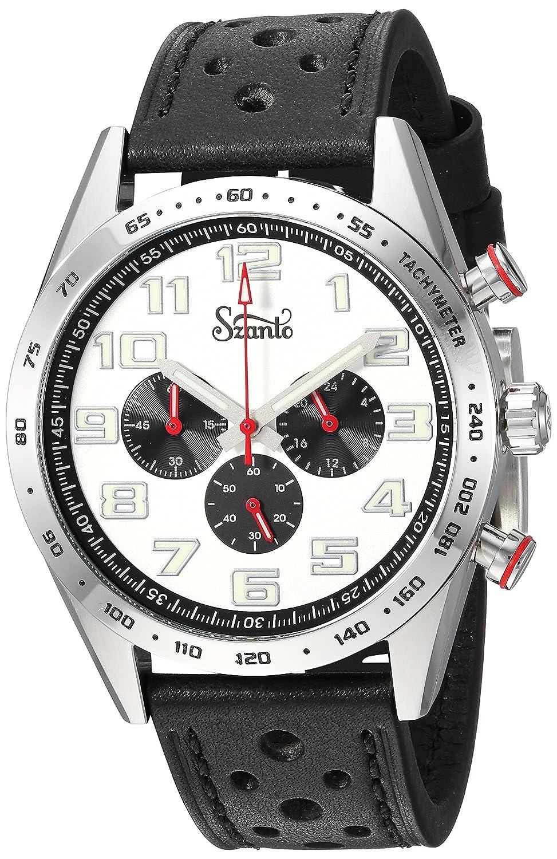 Szantoメンズ' Motorsports ' QuartzステンレススチールandレザーCasual Watch , Color : Black ( Model : sz3002 ) B079JZVQBL