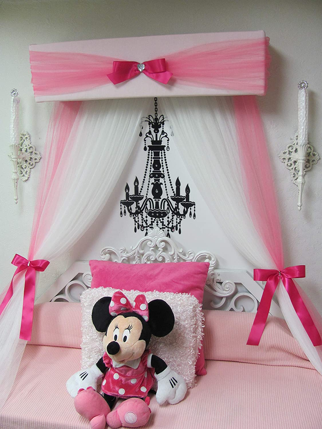 Amazon.com Princess Bed Crib canopy Nursery cornice teester FULL Twin Queen 30 inch White Padded Pink Tulle Tiara Crown Silver or GOLD Sale Bedroom Decor ... & Amazon.com: Princess Bed Crib canopy Nursery cornice teester FULL ...