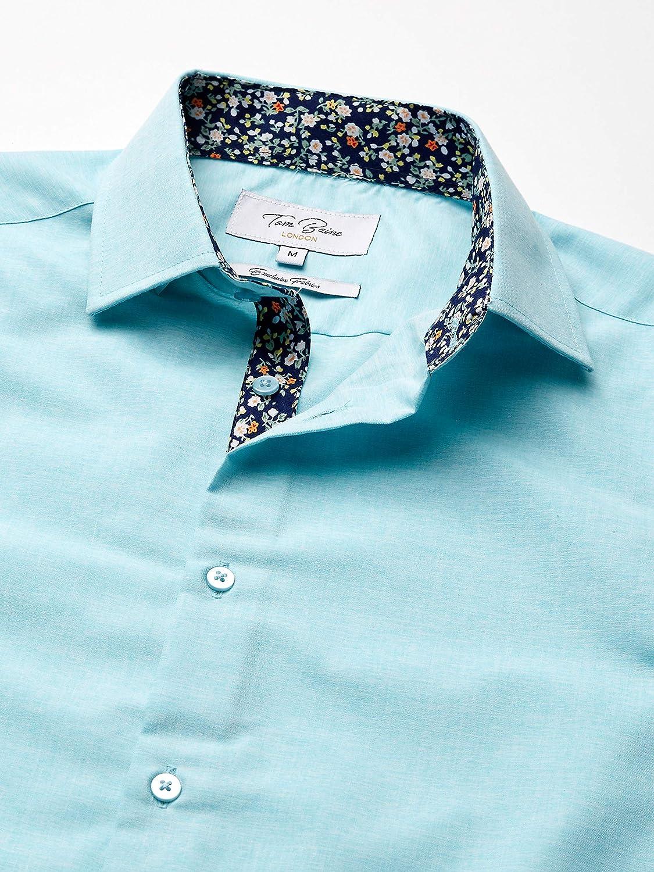 Azaro Uomo Mens Short Sleeve Button Down Casual Shirt Solid Pastel Colors Dress Shirt