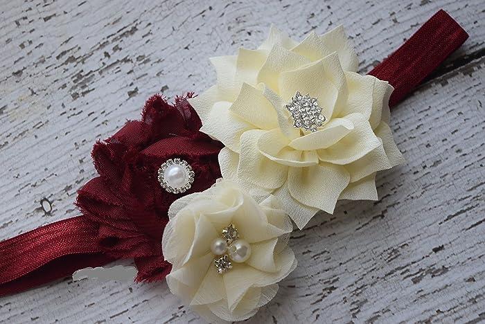 3d5afddb1 Amazon.com  Burgundy ivory Baby Headband