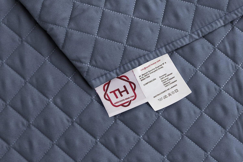 Textilhome - Funda Cubre Sofá Malu, 4 Plazas, Protector para Sofás Acolchado Reversible. Color Azul C/5: Amazon.es: Hogar