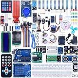 Quimat Project Arduino Kit de Débutant,UNO R3 Développement Board, LCD1602,Servo, Stepper Moteur,Joystick, 21Touches Télécommande, PIR Motion Capteur avec Le Plus Complet Mode d'emploi Kit d'apprentissage (69 Items)