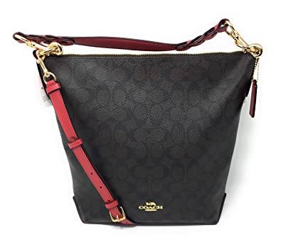 1070d2255a COACH F31477 ABBY DUFFEL IN SIGNATURE CANVAS BROWN TRUE RED  Handbags   Amazon.com