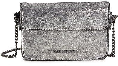 9ae886de4f491 Fredsbruder Taschen Umhängetasche silber Onyx kleine Damen Tasche mit Kette  Leder Mini Handtasche klein Clutch Glitzer