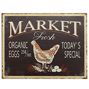 "Barnyard Designs Market Fresh Eggs Retro Vintage Tin Bar Sign Country Home Decor 10"" x 13"""