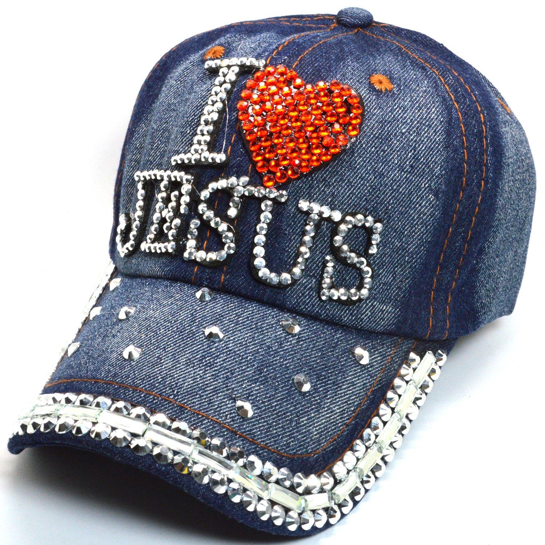 AblessYo Denim Hats Rhinestone Studded Sparkly Bling Baseball Cap Women AYO2049 (I Love Jesus)