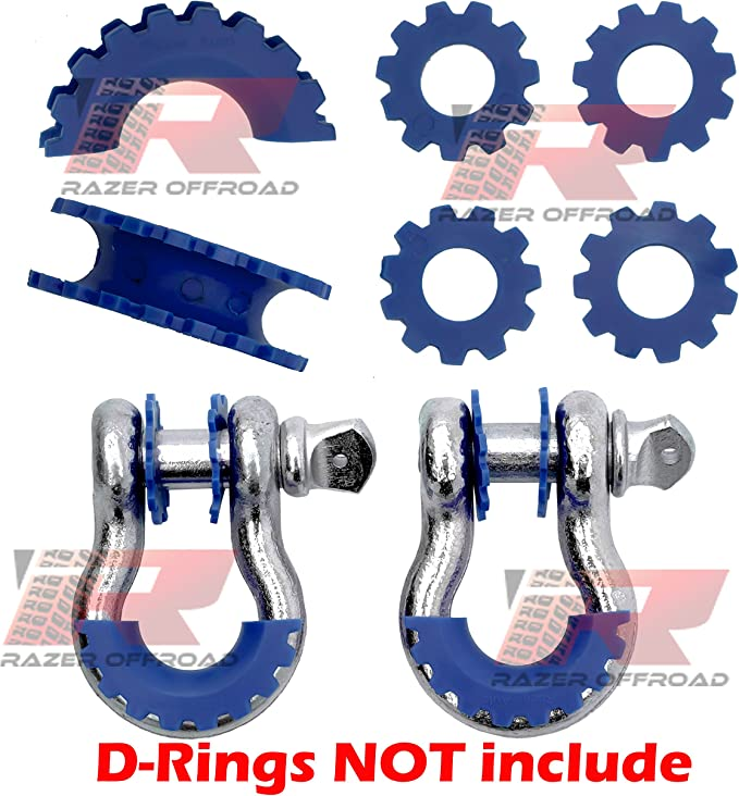 Blue Restyling Factory Blue D-Ring Shackle Isolator /& Washers 6pcs Set Gear Design Rattling Protection Cover