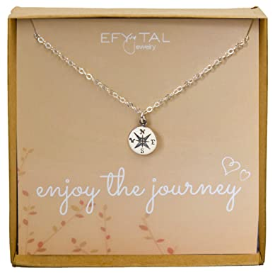 Amazon sterling silver compass necklace on enjoy the journey sterling silver compass necklace on enjoy the journey card small dainty pendant for travel mozeypictures Images
