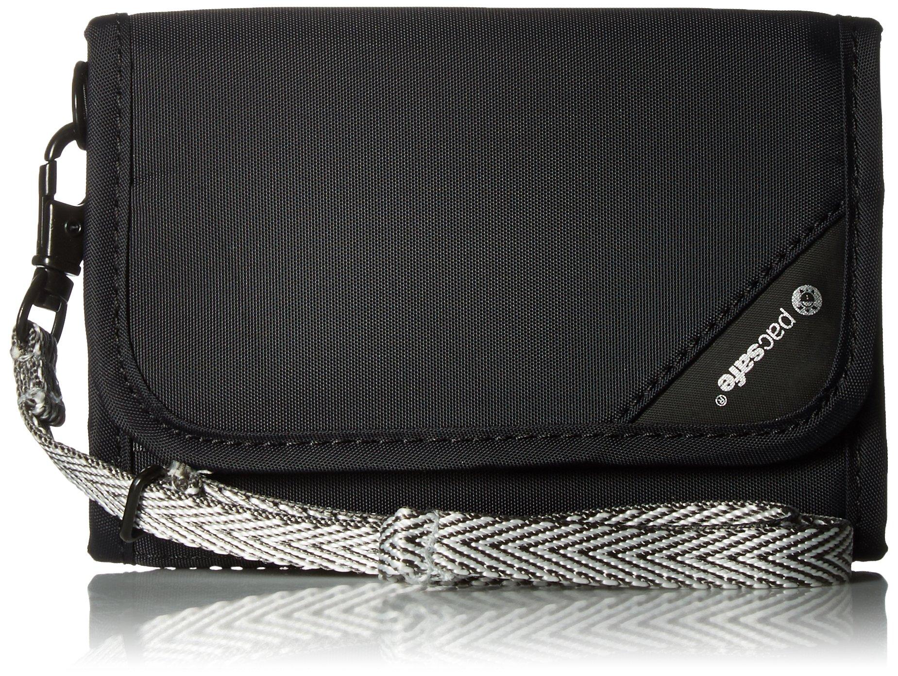 Pacsafe RFIDsafe V125 Anti-Theft RFID Blocking Tri-Fold Wallet, Black