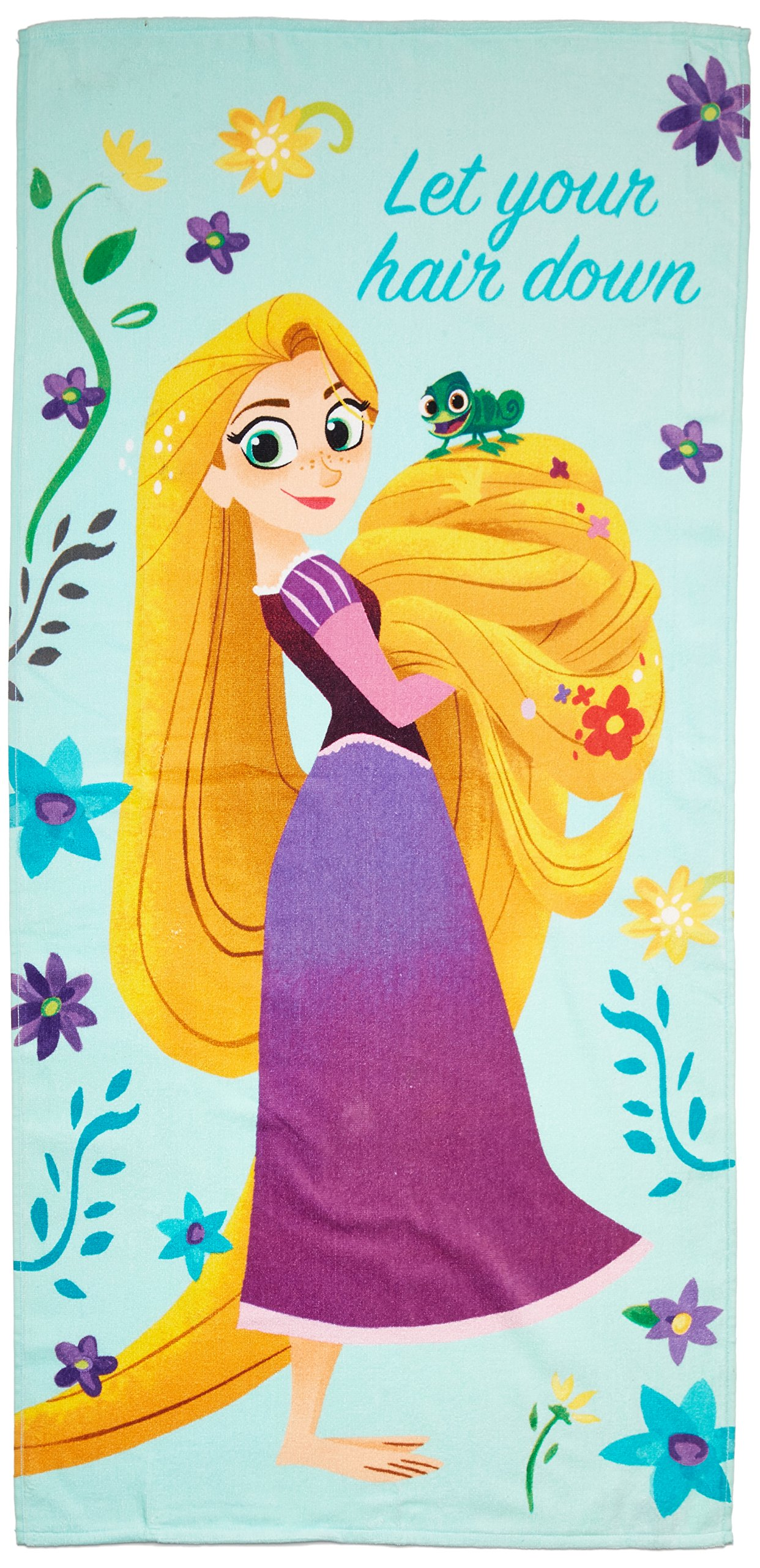 Disney Tangled Let Your Hair Down 28'' x 58'' Cotton Bath, Pool , Beach Towel, Purple/Teal/Yellow by Disney