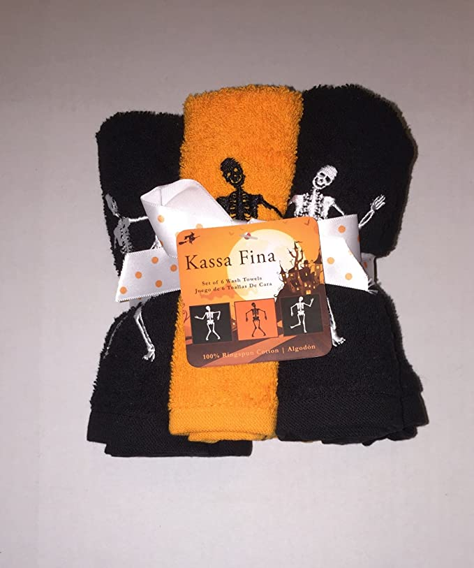 Amazon.com: Set of 6 Kassa Fina Halloween Skeleton Embroidered Wash Towels, Black White Orange: Home & Kitchen