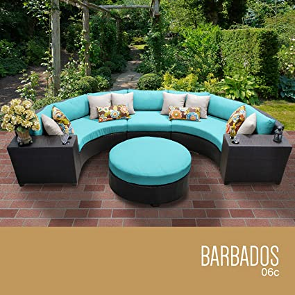 TK Classics 6 Piece Barbados Outdoor Wicker Patio Furniture Set, Aruba 06c
