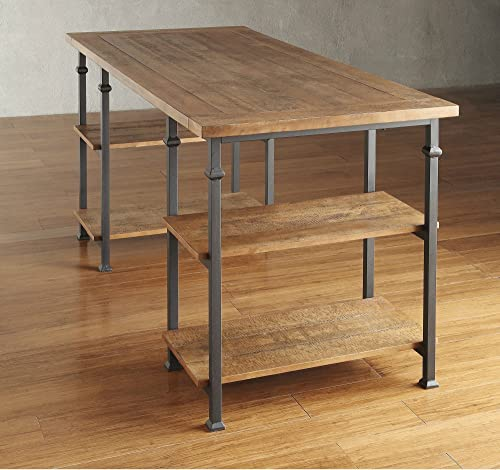 ModHaus Living Industrial Modern Rustic Metal Oak Computer Writing Storage Desk