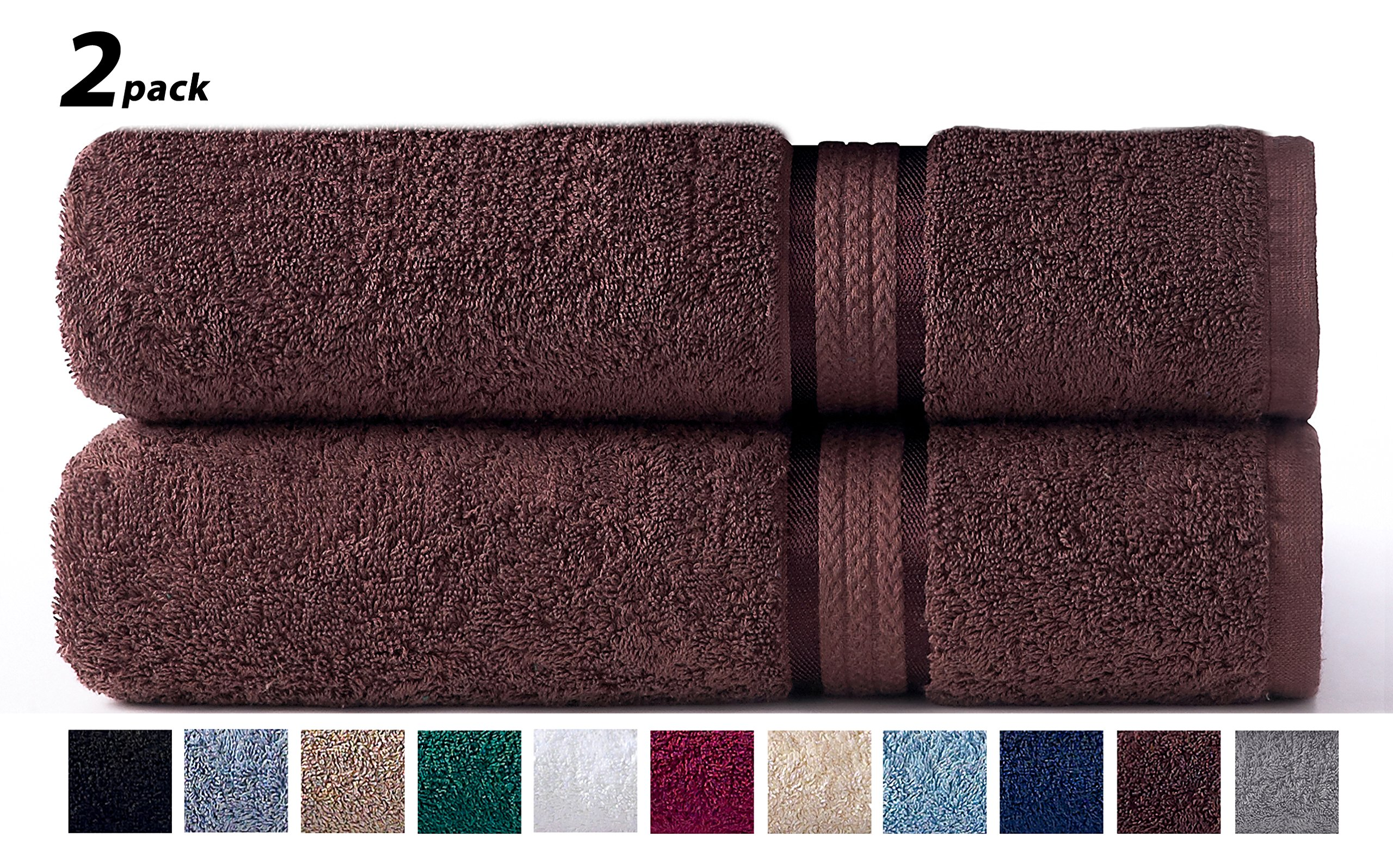 Cotton Craft - 2 Pack Ultra Soft Oversized Extra Large Bath Sheet 35x70 Chocolate - Weighs 33 Ounces - 100% Pure Ringspun Cotton - Luxurious Rayon trim - Ideal for everyday use, Easy care machine wash by Cotton Craft