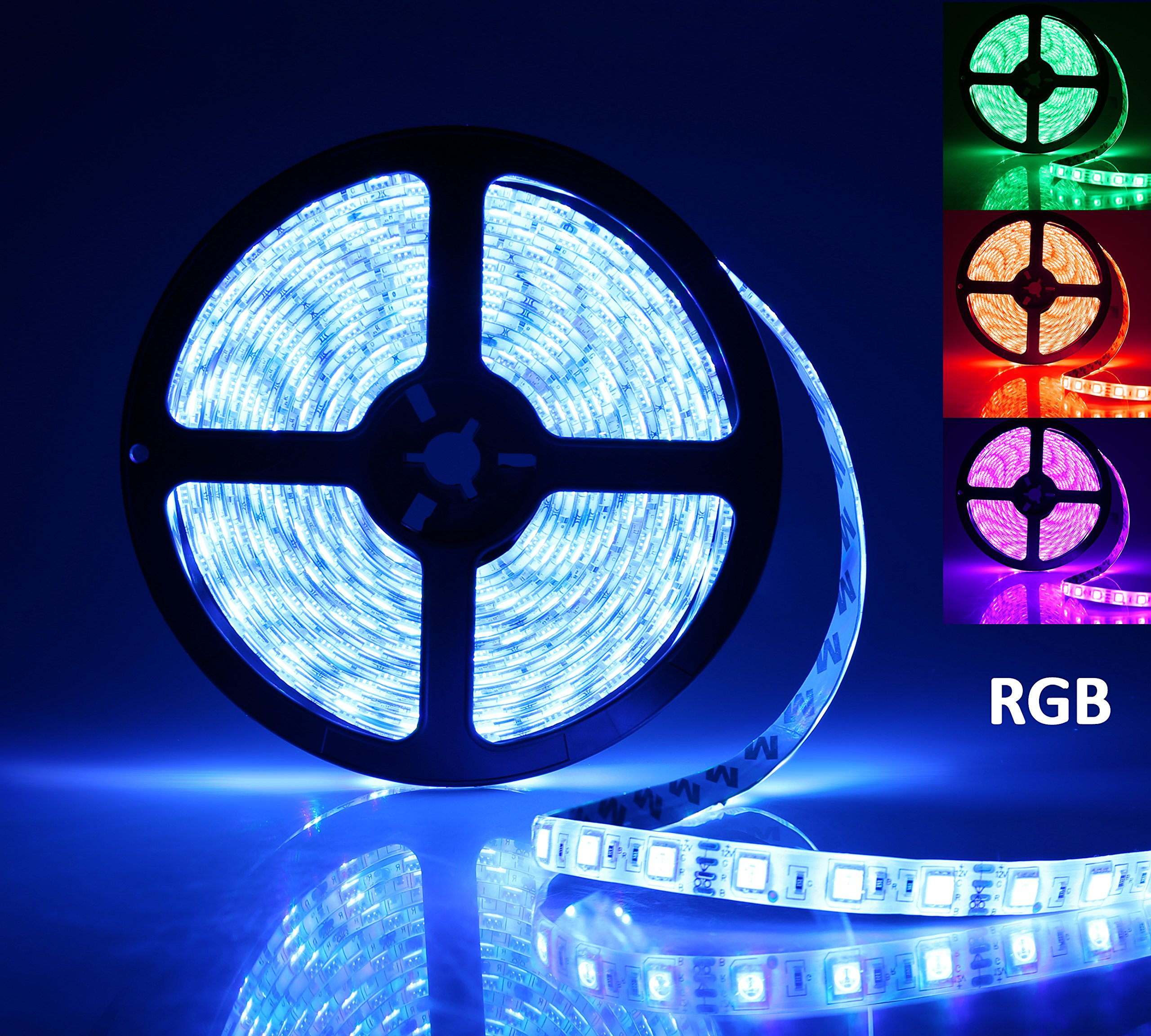 LED Light Strip, AllBlue Rope Lights, 16.4ft RGB 5050smd 300led Waterproof Flexible Led Light Strip Lamp with 44Keys IR Remote Controller and Power Supply for Cars Trucks Boats Bedroom Garden - RGB
