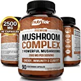 NutriFlair Mushroom Supplement 2500mg - 90 Capsules - 7 Organic Mushrooms - Reishi, Lions Mane, Cordyceps, Chaga, Turkey…