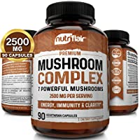 NutriFlair Mushroom Supplement 2500mg - 90 Capsules - 7 Mushrooms - Reishi, Lions...