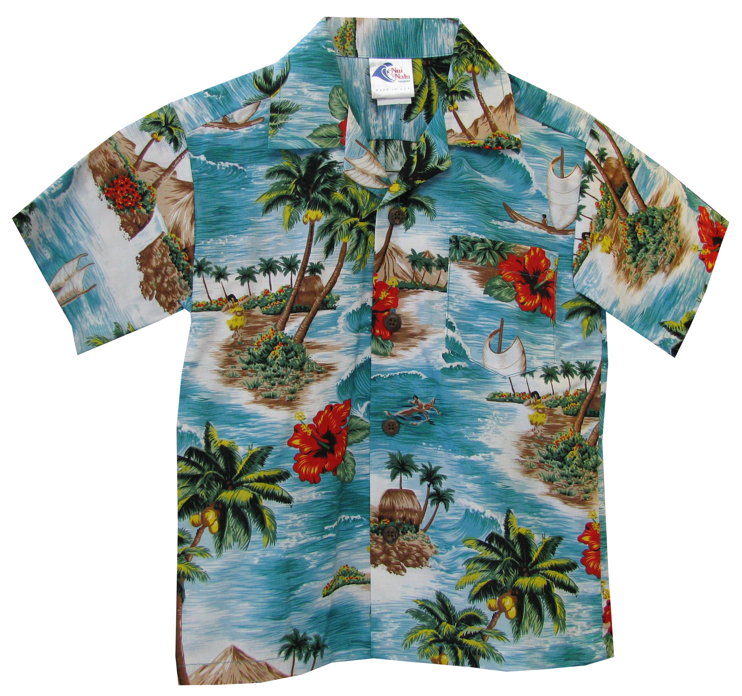 RJC Boys Red Hibiscus island Shirt in Teal - 18