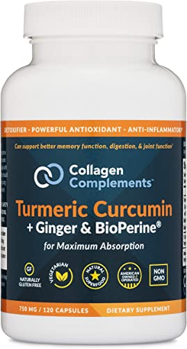 Custom Collagen Turmeric Curcumin Plus Ginger and BioPerine Capsules – 750 mg, 120 Count – Vegetarian, Non-GMO, Natural, Extra Strength