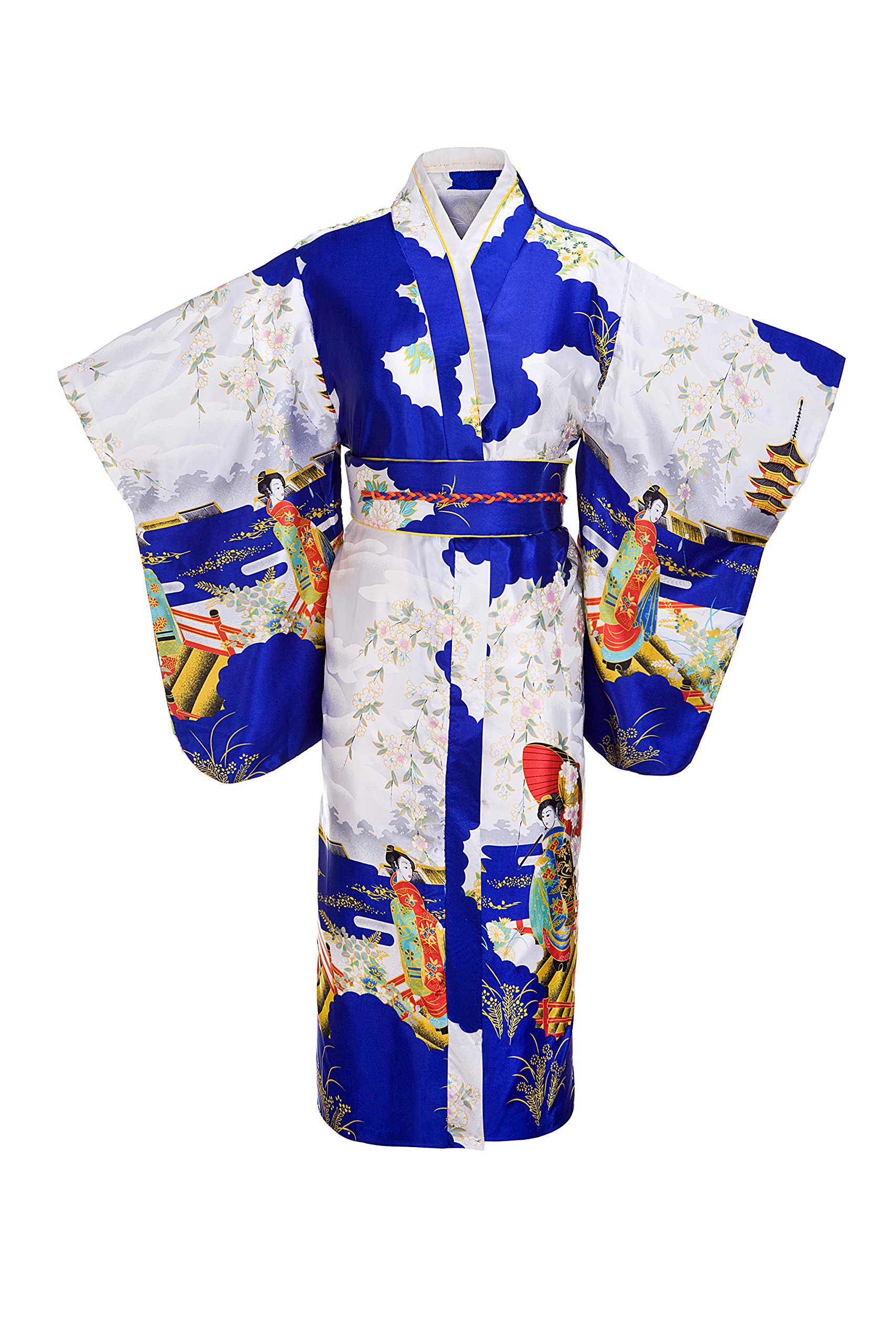 Old-to-new Women's Silk Traditional Japanese Kimono Robe with Pagoda Print Royal Blue