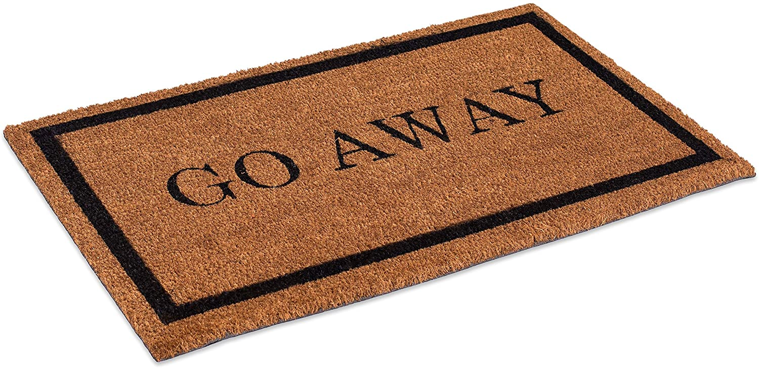 BirdRock Home Go Away Coir Doormat - 18 x 30 Inch - Standard Welcome Mat with Black Border and Natural Fade - Vinyl Backed - Outdoor