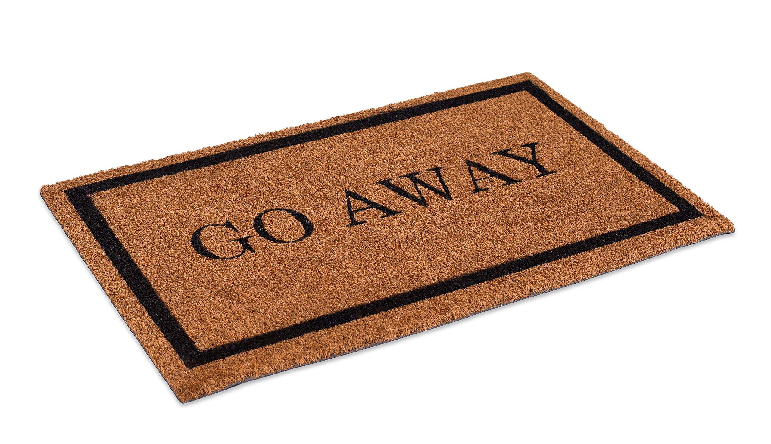 BirdRock Home Go Away Coir Doormat | 18 x 30 Inch | Standard Welcome Mat with Black Border and Natural Fade | Vinyl Backed | Outdoor