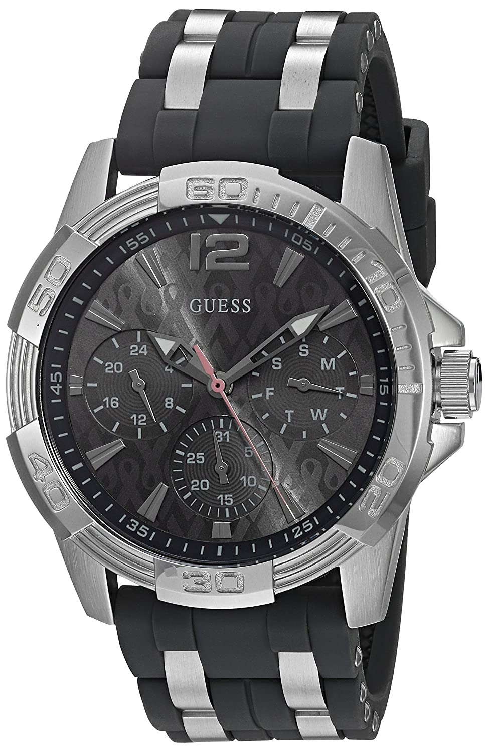 GUESS Men s U0032G7 Sporty Silver-Tone Stainless Steel Watch with Multi-function Dial and Strap Buckle