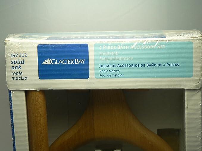 Amazon.com: Glacier Bay 4-Piece Bath Accessory Set Solid Oak, 147 312: Home & Kitchen