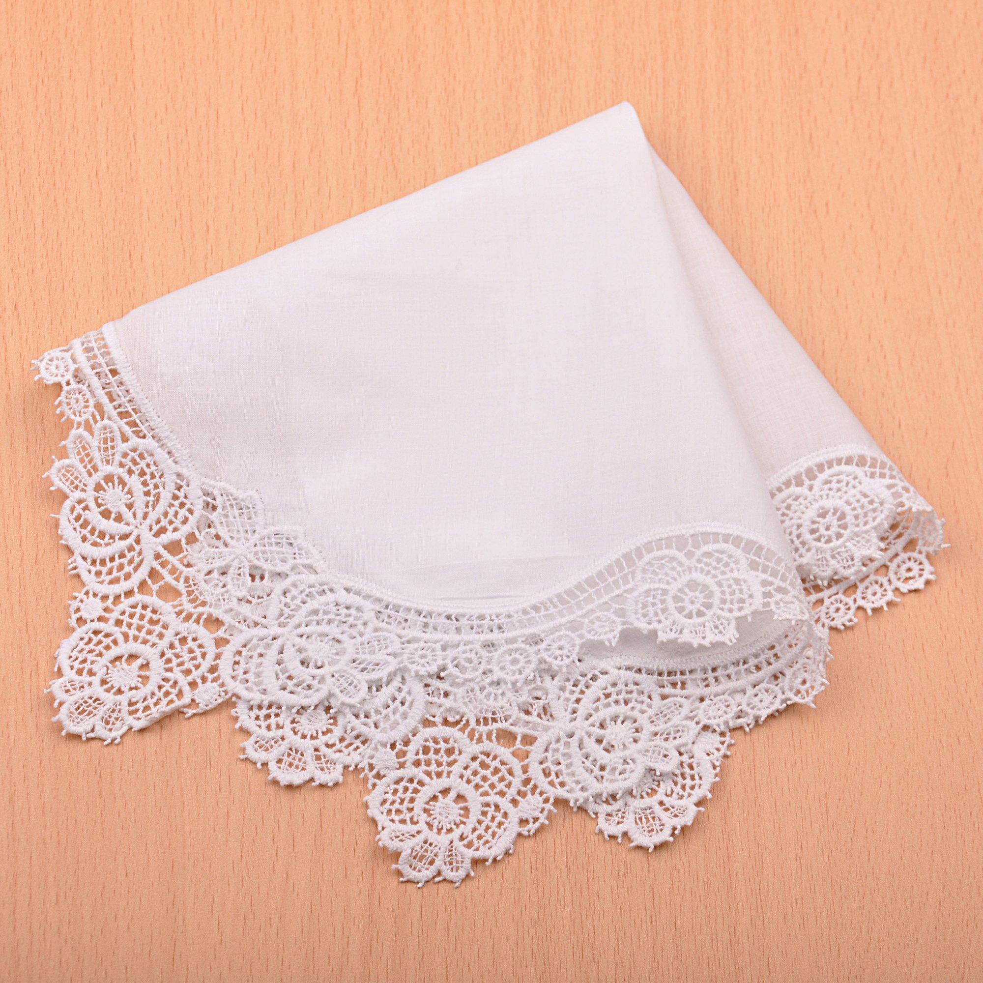 Milesky Bridal Wedding Crochet Lace Handkerchief Premium 60S Cotton CH02 by Milesky (Image #5)