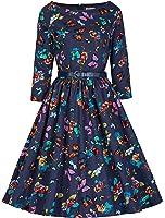 Lindy Bop 'Holly' Millésime 1950's Bleu Papillon Audrey Hepburn Swing Style Robe