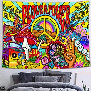 FEASRT Hippie Groovy Tapestry, Cotton 80x60 Inches, Peace and Love Symbol Colorful Art Wall Hanging Tapestries for Dorm Bedroom Living Room Home Decor GTZYAY29