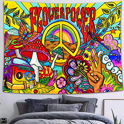 FEASRT Hippie Groovy Tapestry, Cotton 80×60 Inches, Peace and Love Symbol Colorful Art Wall Hanging Tapestries for Dorm Bedroom Living Room Home Decor GTZYAY29