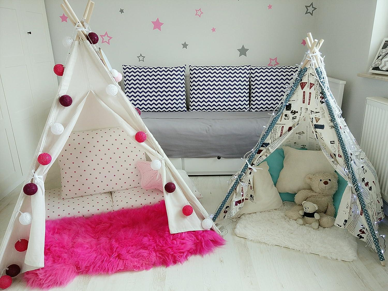 Amazinggirl Completo Set da Gioco per Bambini con Tappetino da Gioco con Mantella e 3 Cuscini con Cuscino Motivo a Stelle per Teepee Tenda