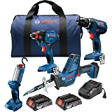 Bosch GXL18V-496B22 18V 4-Tool Combo Kit with Compact Tough 1/2 In. Drill/Driver, 1/4 In. and 1/2 In. Two-In-One Bit/Socket I