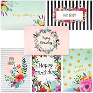 48 Pack Happy Birthday Greeting Cards - 6 Unique Colorful Birthday Cards for Her Watercolor Floral Flower Designs Bulk Box Set Variety Assortment - Envelopes Included (4 x 6 inches)