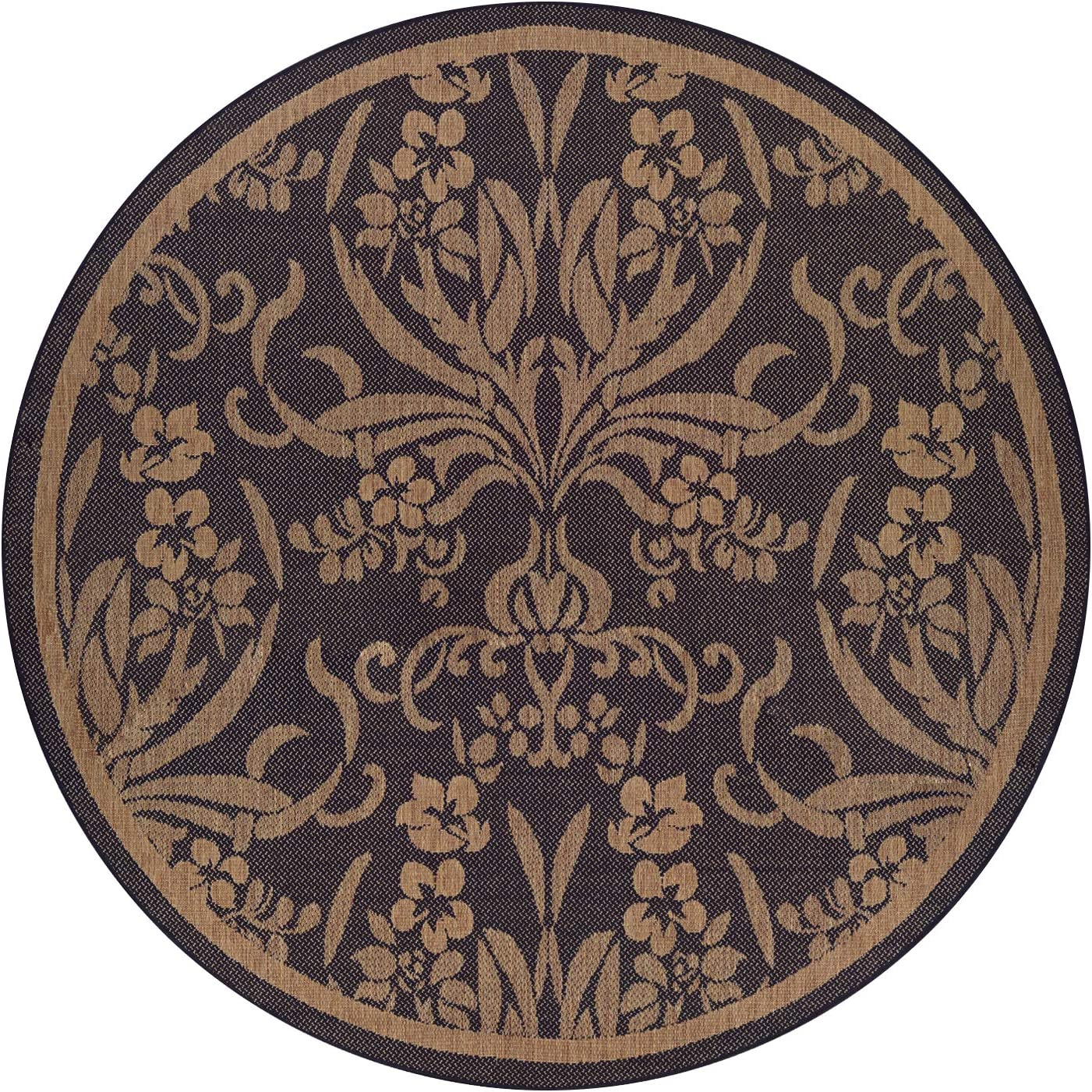 Couristan 1516 0111 Recife Garden Cottage Black-Cocoa 8-Feet 6-Inch Round Rug