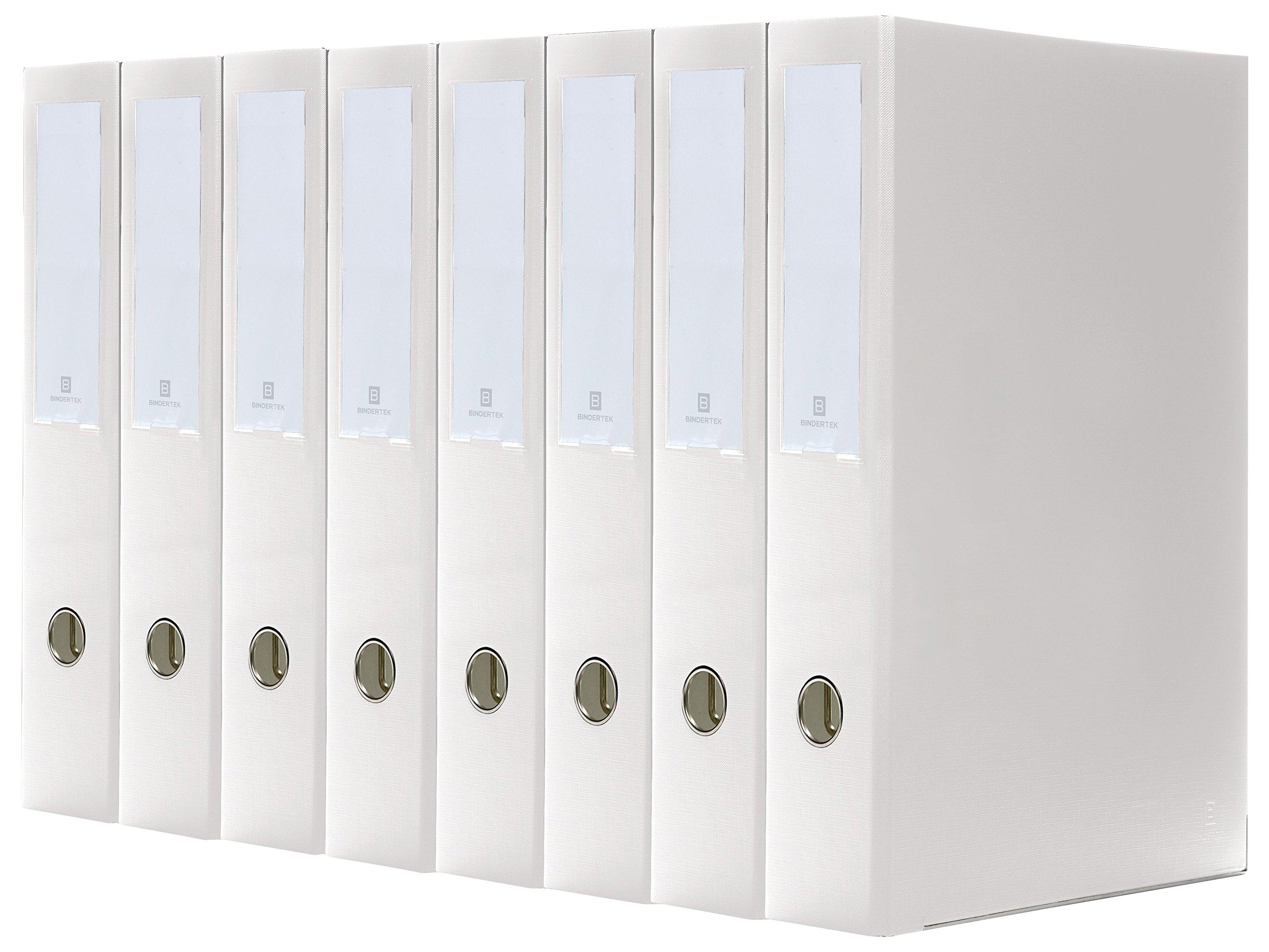 Bindertek 3-Ring 2-Inch Premium Legal Binders 8-Pack, For 8.5 x 14 Paper, White