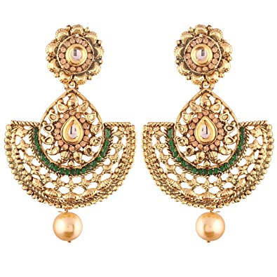 9c96821d44bd7 Buy I Jewels Ethnic Gold Plated Chandbali Earrings for Women (E2420G ...