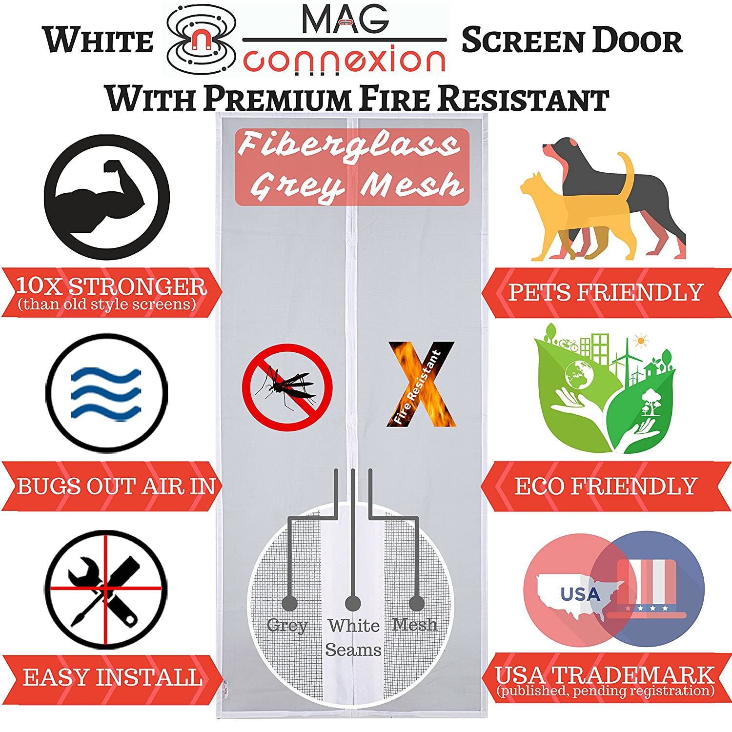 Premium White Magnetic Screen Door With Grey Fire Resistant