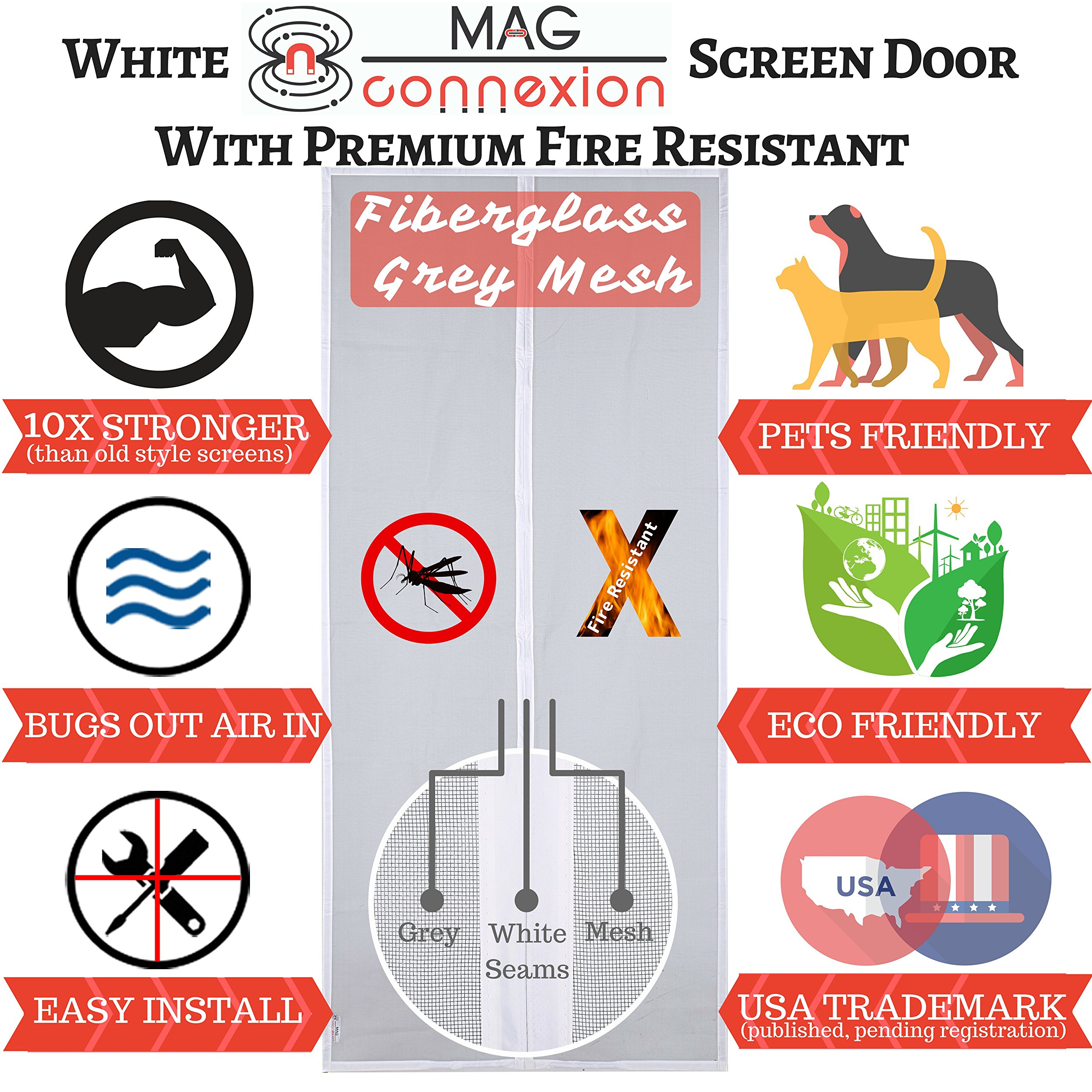Premium White Magnetic Screen Door with Grey Fire-Resistant Fiberglass Mesh | Fit Doors up to 36 x 82 inch | Kids & Pets Friendly - No More Whining & Scratching to be Let in or Out by Mag-Connexion