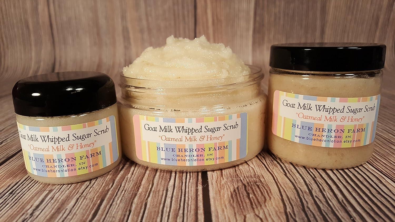 Oatmeal Milk Honey Goat Sugar Scrub Whipped Three Sizes Available Handmade
