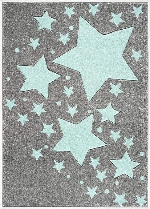 Livone Tapis pour Chambre denfant Motif Nuage et /étoiles Blanc Menthe 100 x 150 cm Menthe
