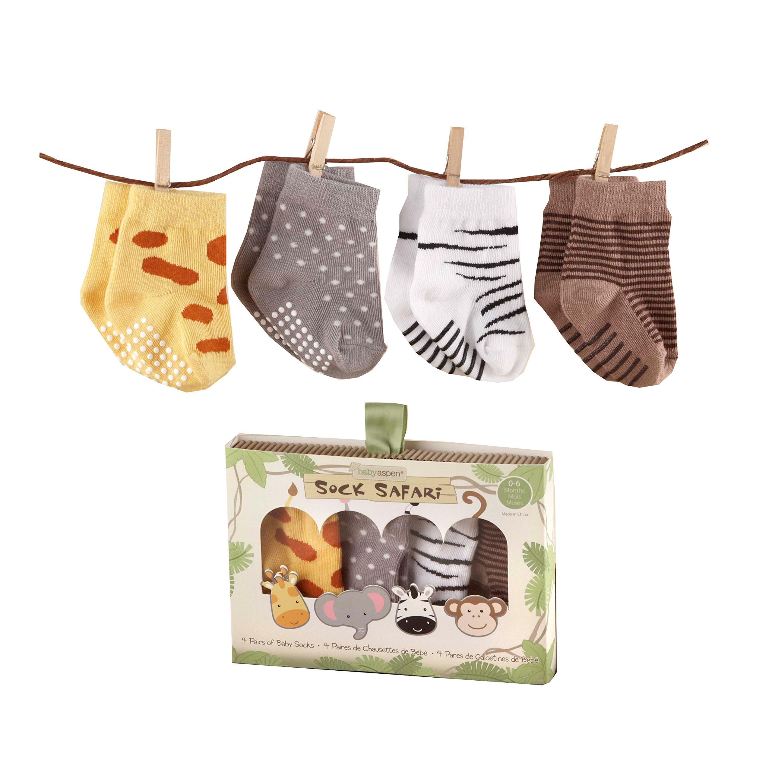 Baby Aspen, Sock Safari Four-Pair Animal-Themed Socks Set, 0-
