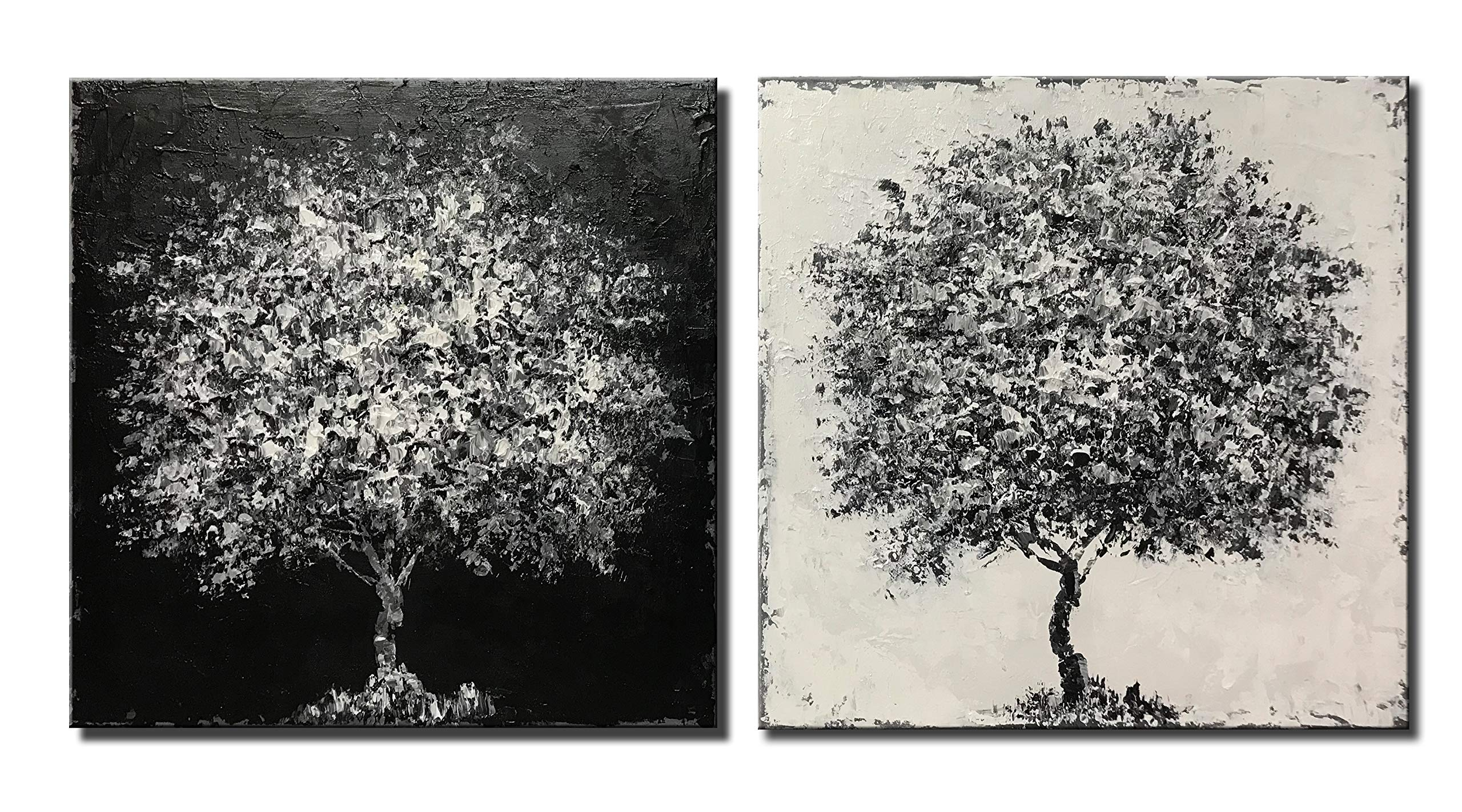 Diathou 2 Piece Abstract Wall Art 20x20 Inch x2 100% Hand Painted Black and White Tree Oil Painting Living Room Bedroom Corridor Office Modern Home Decor